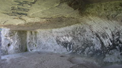 Old abandoned limestone cave, adit Stock Footage