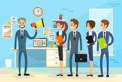 Businessman Boss Hold Megaphone Loudspeaker Colleagues Stock Illustration