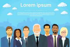 Senior Businessmen Boss with Group of Business People Stock Illustration