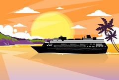 Cruise Ship Liner Tropical Island Sunset Orange Sky Summer Stock Illustration
