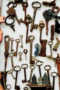 Old keys, wall background Stock Photos