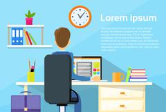 Business Man Sitting Desk Office Working Place Laptop - stock illustration
