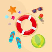 Stock Illustration of Lifebuoy Sea Beach Sand Summer Vacation Holiday Flat