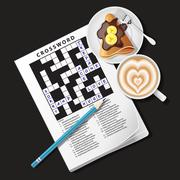 Crossword game with mug of coffee and crepe Stock Illustration