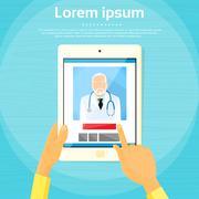 Medical Doctor Tablet Computer Application Flat Stock Illustration