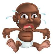 Unhappy cute cartoon baby Stock Illustration