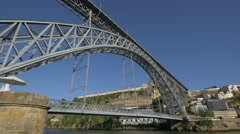 Great view with the metal arch bridge Dom Luis, in Porto Stock Footage