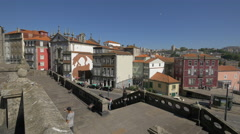 Street view from St Francis Church in Porto Stock Footage