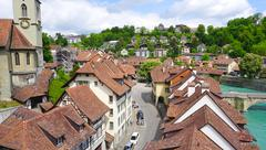 Scene of historical old town city and river Stock Photos