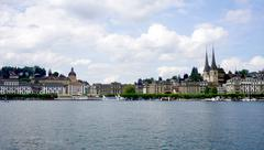 Scenery of Lucerne old towm city Stock Photos