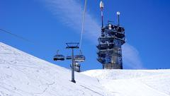 suspended ski cable car View and station Titlis - stock photo