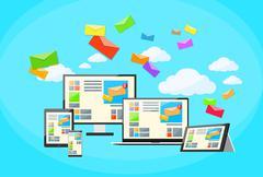 Stock Illustration of Responsive Design Digital Marketing Email Laptop Phone Tablet