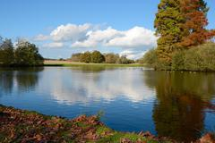 Lake in English parkland - stock photo