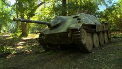 WWII German Tank in woods tilt - stock footage