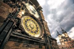 Prague Tower and Astronomical Clock on  the Old Town Hall - stock photo