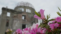 A view of the A-Bomb Dome in Hiroshima Peace Park, Hiroshima, Japan - stock footage