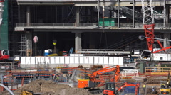 Steal beam craned up at construction site Arkistovideo
