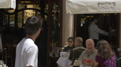 Tourists at Majestic Cafe in Porto Stock Footage