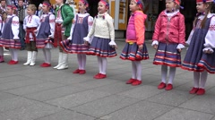 Belorussian children chorus in national clothes sing. 4K Stock Footage
