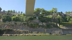 Floating under Ponte do Infante in Porto Stock Footage