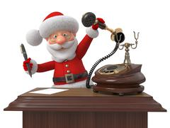 Santa Claus with phone and the handle - stock illustration