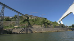 Floating between Ponte do Infante and Maria Pia bridges in Porto Stock Footage