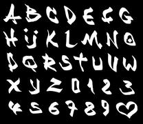 Graffiti marker font and number alphabet over black Piirros