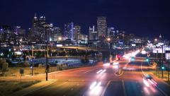 Denver Skyline and Colfax St. Timelapse - stock footage