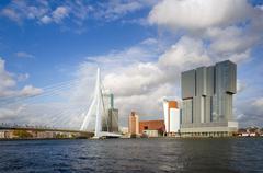 Erasmus Bridge with Skyscraper in Rotterdam Stock Photos