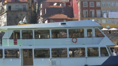 Vale do Douro boat floating near Ribeira Square in Porto Stock Footage