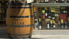 Porto Dalva wine barrel and wine bottles in Porto Stock Footage