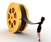 3d woman pull film from big film roll concept Stock Illustration
