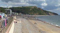 Seaton Town Beach and Promenade in Devon Stock Footage