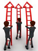 3d men ready climb up arrow stairs concept - stock illustration