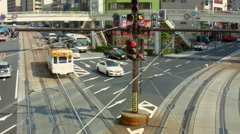 Electric trams in Nagasaki, Japan Stock Footage