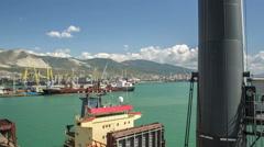 Crane flight in harbor, shipyard Stock Footage