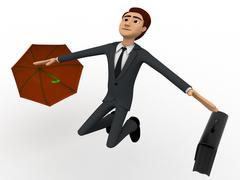 3d man happy and jump with briefcase and umbrella concept - stock illustration