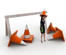 Stock Illustration of 3d woman wear traffic cone as hat and with many traffic cone concept