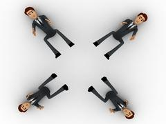 3d four men about to catch falling object concept Stock Illustration
