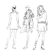 SKETCH. Fashion girl - stock illustration
