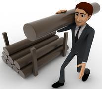 3d man carry big wooden trunk on shoulder concept - stock illustration