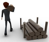 3d man carry big wooden trunk on shoulder concept Stock Illustration