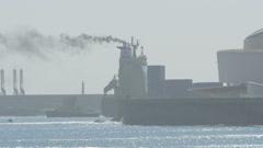 Cargo ship on Atlantic ocean near Porto - stock footage