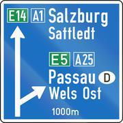 Direction Sign On Motorway in Austria Stock Illustration