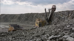 Quarry mountain trucks Stock Footage