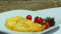 A Plate of Fresh Cooked Omlette Stock Footage