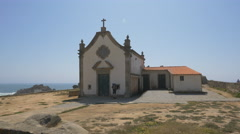 Boa Nova chapel by the ocean near Matosinhos, Porto Stock Footage