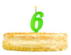 birthday cake with candles number six isolated - stock photo