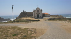 Beautiful Boa Nova chapel near Atlantic Ocean, Porto Stock Footage