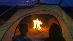 Stock Video Footage of 2 in 1 video! Pair sit, drink tea, talk, kiss and laughter in the camping tent